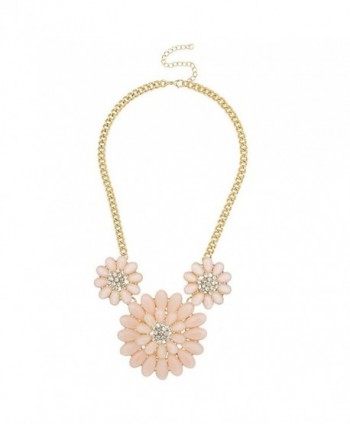 Lux Accessories Pave Crystal Floral Flower Light Pink Statement Necklace - CG127ZWVWMH
