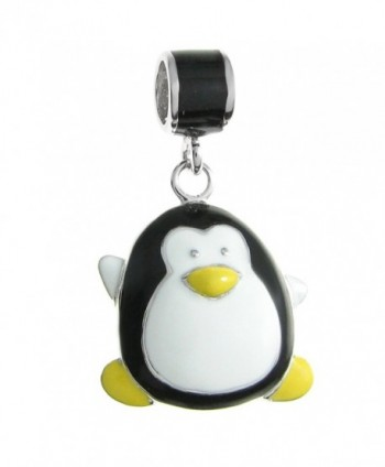 Rhodium-plated Sterling Silver Lovely Penguin Enamel European Style Dangle Bead Charm - CZ11APG3WYL