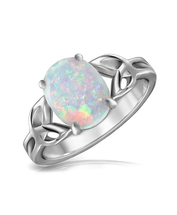 Bling Jewelry Triquetra Celtic Knot Oval Synthetic White Opal Sterling Silver Ring - CQ11IR2T8AH