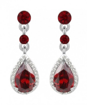 EleQueen Women's Silver-tone Cubic Zirconia Crystal Teardrop Bridal Dangle Drop Earrings - Ruby Color - CG11XGURBF5