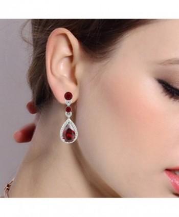 EleQueen Silver tone Zirconia Teardrop Earrings