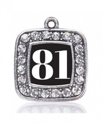 Inspired Silver Number 81 Loose Square Charm with Crystal Rhinestones - CZ128V21M25