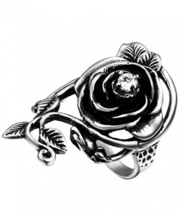 Flongo Womens Ladies Gothic Stainless Steel Rose Flower Vine Band Ring - C811ZY8H9UJ