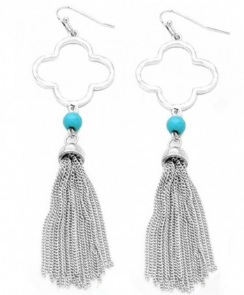 Women's Metal Clover with Chain Tassel Dangle Pierced Earrings - Turquoise/Silver-Tone - CN1857Q7NXR