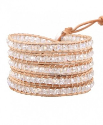 KELITCH Clear Crystal Beaded Leather 5 Wrap Bracelet Handmade Stackable Jewelry - CT126X069F7