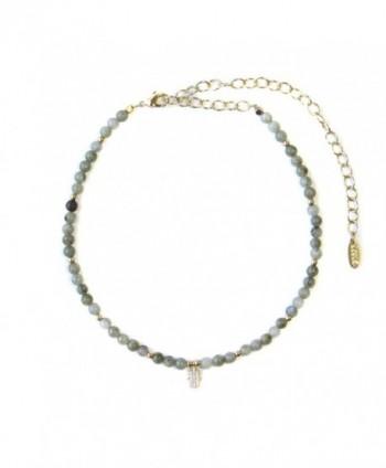 Ettika Brace Yourself Labradorite Beaded Choker with Crystal Hamsa Charm Necklace - CD12MC1LN6B