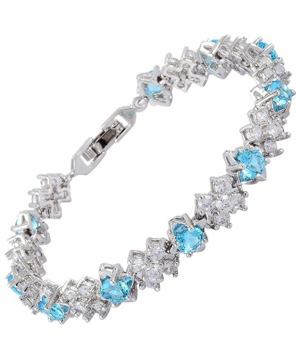 "Round Cut Multi-Color CZ 18K Gold Plated Tennis Bracelet- 7"" - Aqua - C117AYYRMK7"