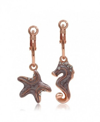 Kemstone Asymmetric Rose Gold Starfish Sea Horse Dangle Earrings Women Jewelry - CG12N8QELDX