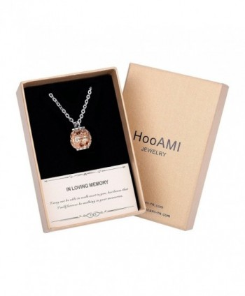 HooAMI Cremation Jewelry Memorial Necklace - Rose Gold-Gift Box - CS18544ZAIC