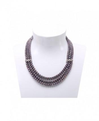 JYX 3-row 6-7mm Flatly-round Freshwater Cultured Pearl Necklace - Black - CS183XA26M2