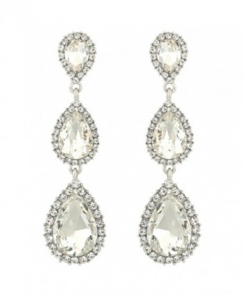 EleQueen Women's Silver-tone Austrian Crystal Tear Drop Pear Shape Long Earrings - Clear - CK11XTE1AE5