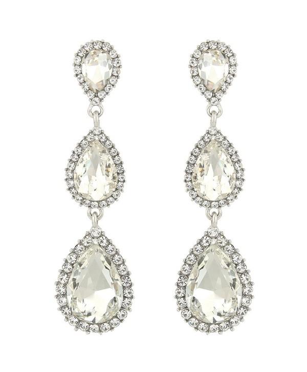 7c3226e48 EleQueen Women's Silver-tone Austrian Crystal Tear Drop Pear Shape Long  Earrings - Clear -