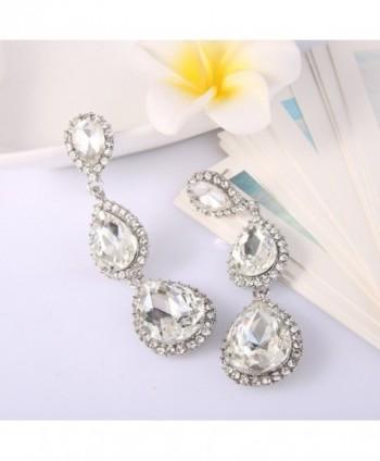 72f64d506 EleQueen Women's Silver-tone Austrian Crystal Tear Drop Pear Shape Long  Earrings - Clear -; EleQueen Silver tone Austrian Crystal Earrings ...