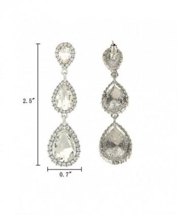 e42e6099f Available. EleQueen Women's Silver-tone Austrian Crystal Tear Drop Pear  Shape Long Earrings ...