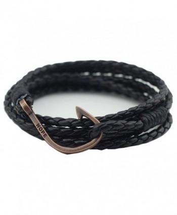 UNIONTOP Mens Womens PU Leather Bracelet Hope Bracelet Personality Multi-Layer Black - CM12F2LKSWN