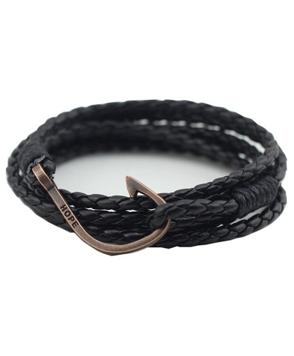 UNIONTOP Mens Womens PU Leather Bracelet Hope Bracelet Personality Multi-Layer Black - CM12F2LKSWN