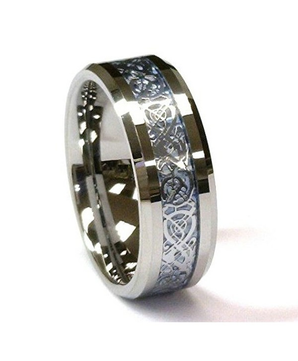 8 mm Titanium & Blue Celtic Dragon Inlay Unisex Wedding Band Ring by Cohro CJTI302 - CA11TOJH977
