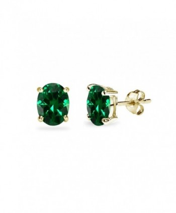 Sterling Silver Simulated Emerald Oval-Cut Solitaire Stud Earrings for Women Teens & Girls - 6x4mm - Gold Flash - CN12M0U8T4N