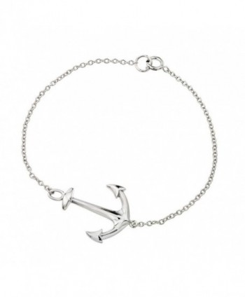 Rhodium Plated High Polish Finish Sterling Silver Sideways Anchor Bracelet - CM11ERTV2Z9