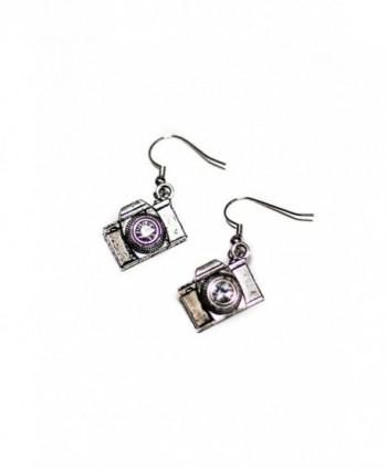 SLR Camera with Crystal Lens Silver Toned Dangle Earrings - C212DA4E38N