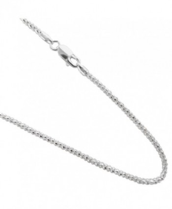 Pop-corn 2.7mm Chain .925 Italian Sterling Silver Necklace. 16-18-20-22-24-30 Inches - C311TY64ITR