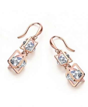 SBLING 18K Rose Gold Plated Cubic Zirconia Drop Earrings(9.5 cttw) - C8120I03M3F