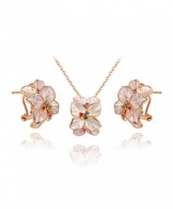 Ornaments Women's Jewelry Set Earrings Necklace Rose Gold White Flower Ear Clip - CG11O0XYNOT