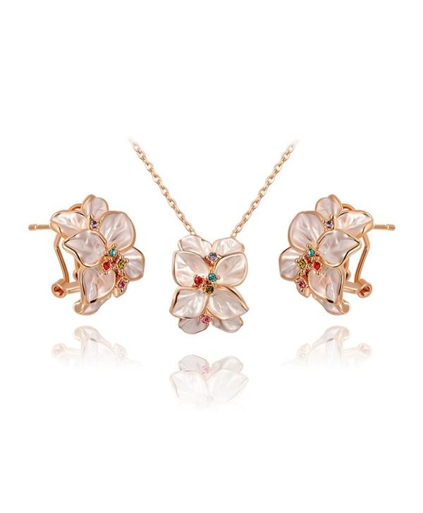 Ornaments Women's Jewelry Set Earrings Necklace Rose Gold White Flower Ear Clip - CG11O0XYNOT