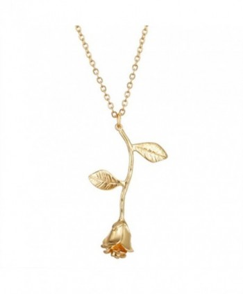 Cyntan Rose Flower Pendent Necklaces For Women Gold Tone Metal Chain - Style  1 - CC189WTD2HH