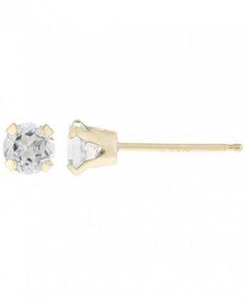 .50 cttw Round 4MM Natural White Topaz 10K Yellow Gold Stud Earrings - CI12EKLFPBP