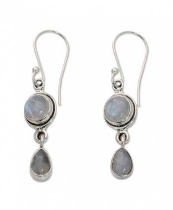 NOVICA Moonstone .925 Sterling Silver Dangle Earrings 'Shimmer' - C411G3WDQ0R