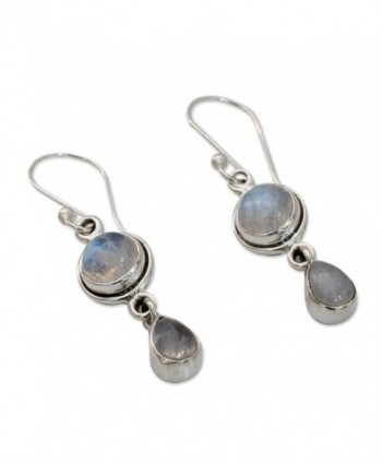 NOVICA Moonstone Sterling Earrings Shimmer