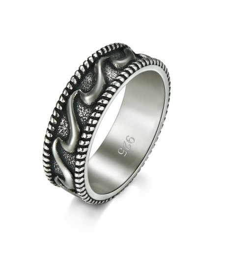 925 Sterling Silver Ring- Boruo Plain Stackable Band Wave Ring 7mm Size 4-12 - CC183XZ37WY