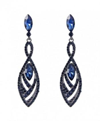 EVER FAITH Women's Crystal Double Marquise Shape Dangle Earrings Blue Sapphire-Color Black-Tone - CU12G5T96KV