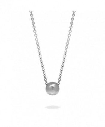 Stainless Steel Simple Silver Single Bead Slide Necklace- Minimalist Jewelry (16 - 18 Inch) - CA1824W0ZEE