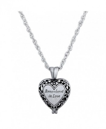 "CA Gift ""Remembered In Love"" Memorial Urn Locket Necklace with Vial for Ashes on 23"" Rope Chain - CP12J1H5ND3"