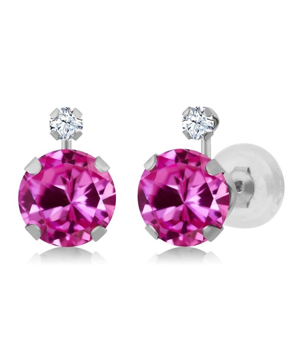 2.08 Ct Pink Created Sapphire White Created Sapphire 14K White Gold Earrings - CT11OWHW5GV