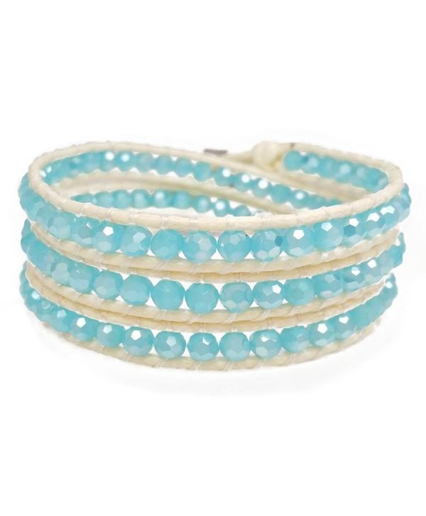 Women's Beaded Wrap Bracelet- Sky Blue Faceted Beads- Handmade 3 Wrap - C312MA3NQOD