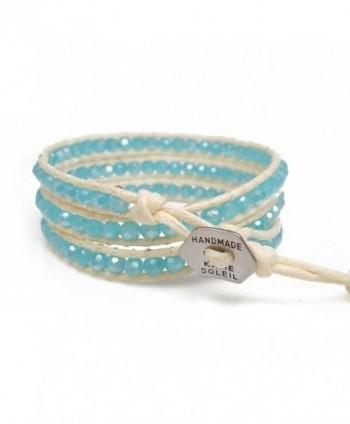 Womens Beaded Bracelet Faceted Handmade in Women's Wrap Bracelets