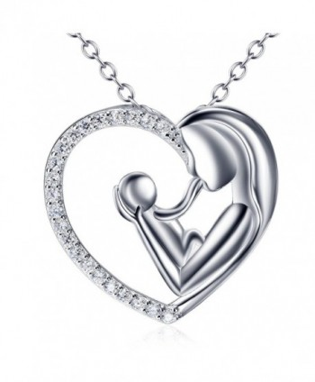 925 Sterling Silver Cubic Zirconia Mother Child's Enternity Love Heart Pendant Necklace for Women - CA12DDMLTXF