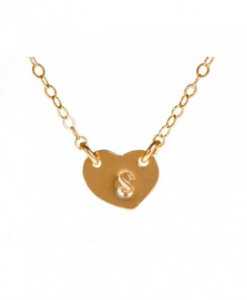 Tiny Gold Filled Heart Custom Initial Necklace- Personalized Dainty Monogram Necklace - CB110ZIT933