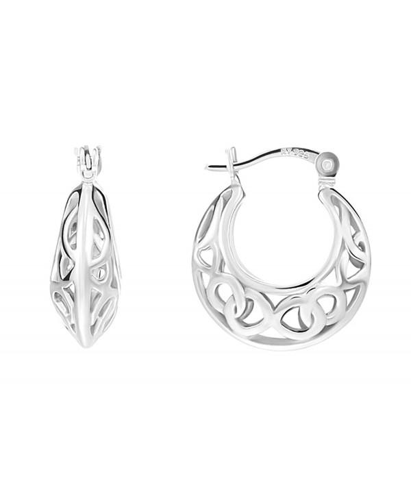 Sterling Silver Filigree Small Hoop Earrings - C2186HAZ42C