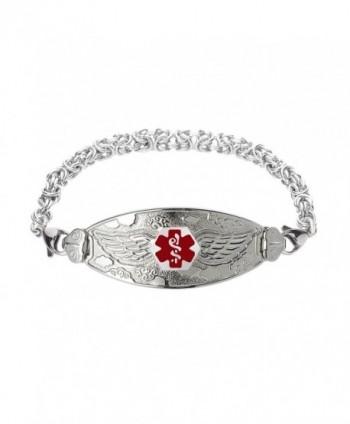 Divoti Custom Engraved Angel Wing Medical Alert Bracelet -Handmade Byzantine -Red - CW17X66KUU3