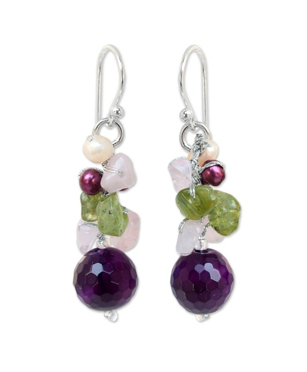 NOVICA Dyed Cultured Freshwater Pearl Cluster Earrings with Agate- Quartz and Peridot- 'Princess Legend' - C211G3W2E7D