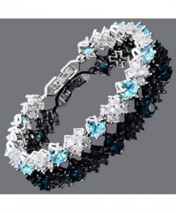 Simulated Aquamarine Plated Tennis Bracelet in Women's Tennis Bracelets