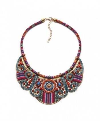 Jewelrydress Women Bohemian Ethnic Personality Unique Handmade Colorful Embroidery Bib Statement Necklace - Blue - CU12O52OW8Q