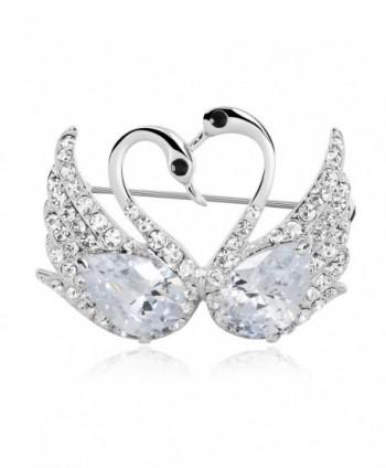 Elegant Luxury Jewelry Silver-tone Clear Cubic Zircon Swan Love Heart Tear Drop Brooches Pins - CB11Z2WEAJJ