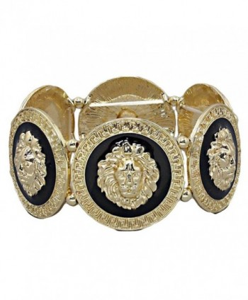 GALHAM - Rihanna Inspired Trendy Gold Black Lion Head Medallion Chunky Stretch Bangle Bracelet - CQ11JTWHT6Z