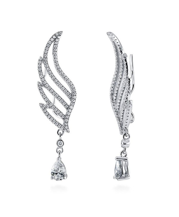 BERRICLE Rhodium Plated Sterling Silver Cubic Zirconia CZ Angel Wings Fashion Ear Crawlers - C2120QFEELV