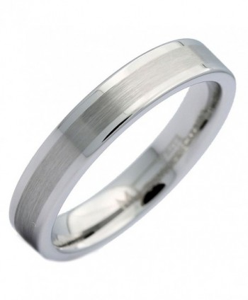MJ 4mm White Tungsten Carbide Brushed Center Flat Pipe Wedding Band Ring - CX12MEDAPC9
